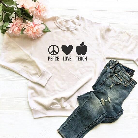 Paix, amour enseigner professeur t-shirts drôle chemise professeur enseigner premier jour de l'instituteur tshirt 1er grade tés grades école cadeaux professeur hauts enseignement tees 5db646