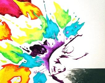"Tap Into Rainbow, acrylic on 14"" x 18"" canvas"