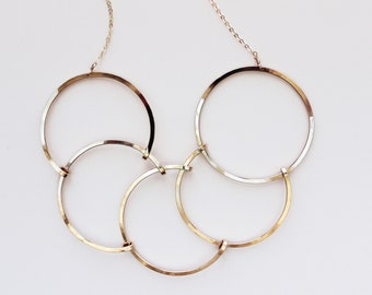 55ba5bb09 Geometric Statement Necklace, Serpent - By Loop Jewelry, Modern, Large  Statement Necklace, Silver, Bronze, Gold Fill, Circle Necklace