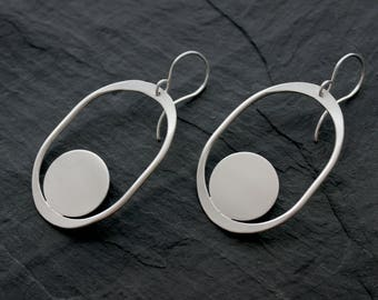 2df299013 Large Organic Shape Earrings, Saturnia, Loop Jewelry, organic, abstract,  portland jewelry, modern, abstract jewelry, sterling silver, brass