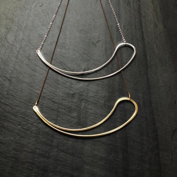 L.Greenwalt Jewelry minimalist slow fashion swirl Geometric Brass Paisley paisley pendant sterling silver gold fill Loop Jewelry
