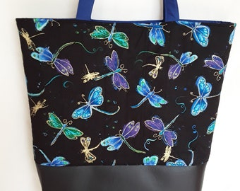 Tote with Colourful Dragonfly print