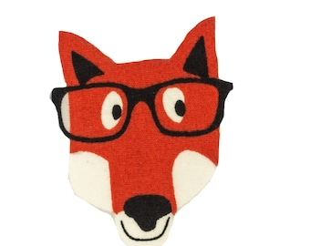 Fox head with Glasses Iron On Fabric Transfer Applique - 3545