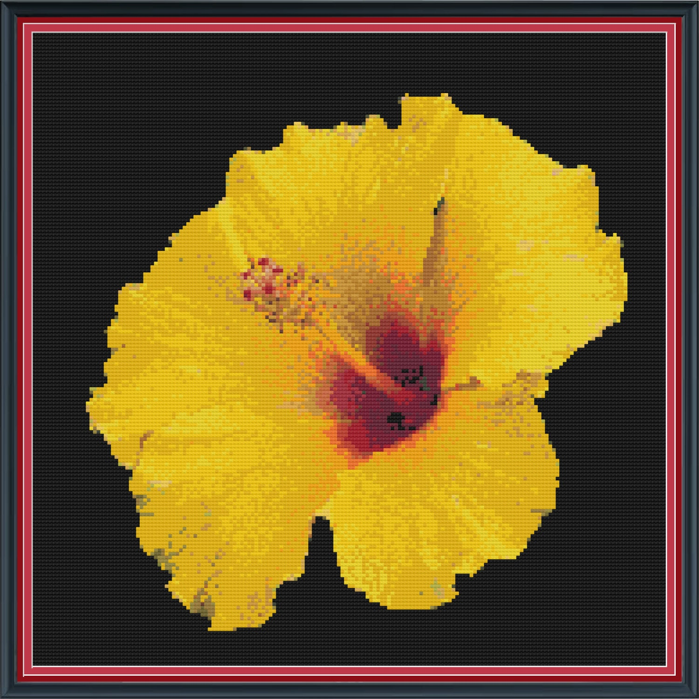 Yellow Hibiscus Flower Cross Stitch Pdf Pattern Etsy