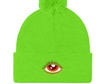f41aa82364b Red All Seeing Eye Pom Pom Knit Cap