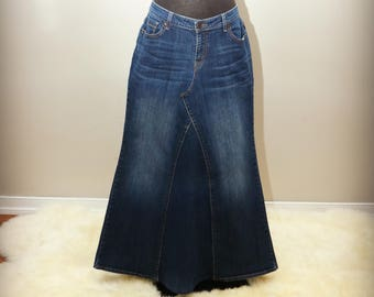 54b139ca7d Womens Custom Long Denim Maxi flare Jean Skirts Sizes 0-24