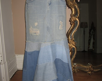 b9fab6662f365 Levi s 518 long denim Destroyed patchwork mermaid boho skirt 16