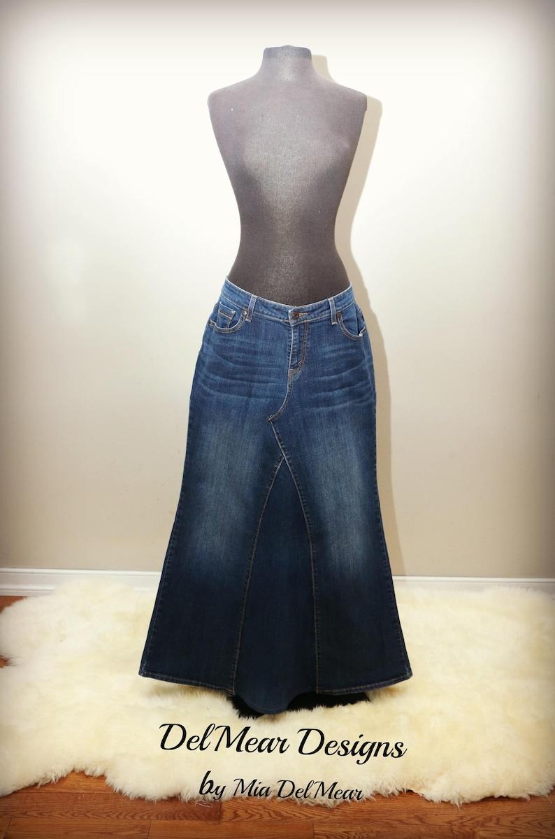 bf81942dfc Womens Custom Long Denim Maxi flare Jean Skirts Sizes 0-24 | Etsy