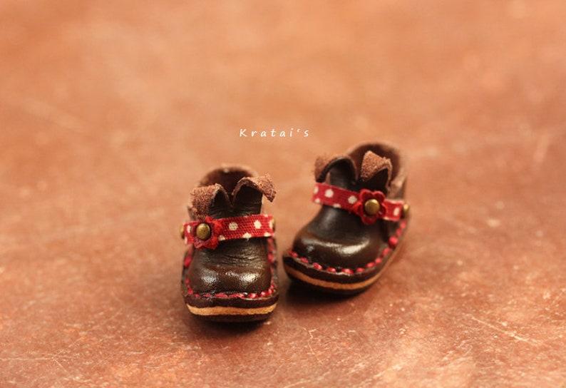 5e16ed30c3e4d Bunny Shoe no.BNL04 leather color dark brown line dot red