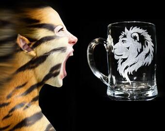 Personalized Beer Mug Groomsman Mug Engraved Mug, Hand engraved Beer Mug, Lion Engraving, Lion Etched Mug