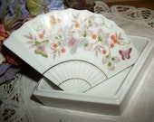 Trinket Box Asian Fan White Porcelain Hand Painted Ring Keeper Dresser Top Covered Dish Vintage Avon Home Decor FREE SHIPPING