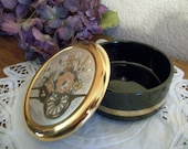 Powder Dish Art of Chokin Black Porcelain Covered Jewelry Box 24k Gold Floral Design Asian Japanese Collectible Vintage Home Decor