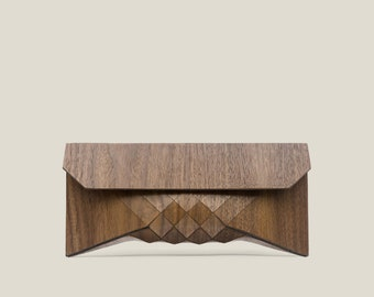 Shoes, bags and accessories Category Winner: Etsy Design Awards 2020 wood clutch, wood bag, wood purse, geometric, geometric wood clutch