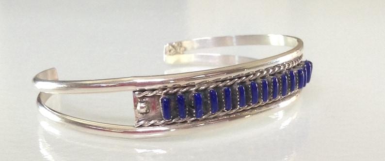 Native American Zuni Sterling Lapis Petit Point Row Bracelet Signed Angie Bailon