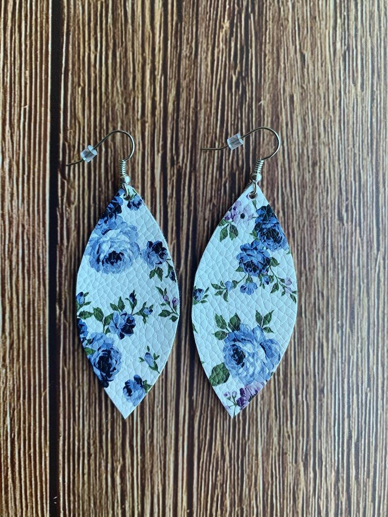Blue Floral Faux Leather Earrings Leaf Shape Vegan Leather Lightweight Earrings Jewelry