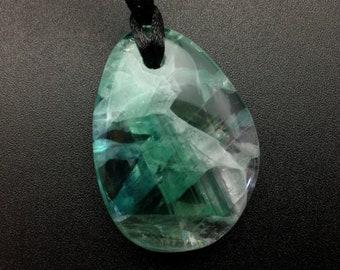 Fluorite Necklace Fluorite Stone Pendant 38mm Fluorite Jewelry Green /& Purple Fluorite Drilled Stone Drilled Stone on Cord