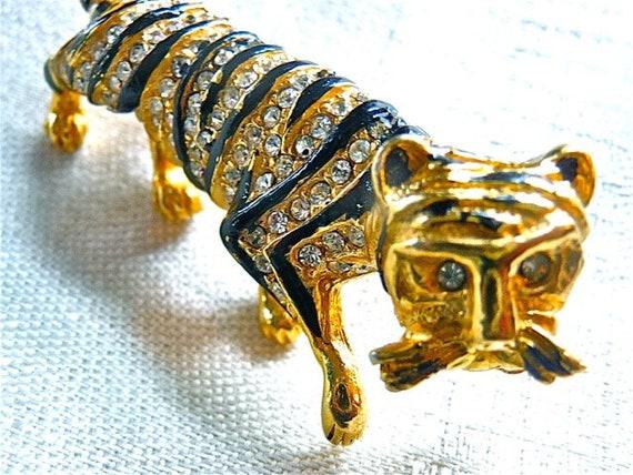 Hattie Carnegie R/S Enamel Tiger Pin