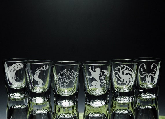ea33502a1d90 Game of Thrones Inspired House Etched Shot Glasses Set