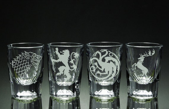 ee3f26c24d03 Game of Thrones House Etched Shot Glasses Set of 4