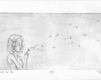 "Dandelion Girl ""I Wished For You"" original monoprint"