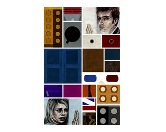 """Doctor Who inspired original art print """"Rose Tyler, I--"""" 11x17"""" featuring Billie Piper's Rose & David Tennant's 10th Doctor--and many more!"""
