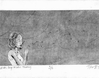 """Dandelion Girl """"This All Was Only Wishful Thinking"""" original monoprint"""