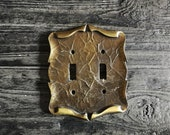 Gold Color Brass Tone Metal Amerock Double Light Switch Plate Cover - Vintage 70s