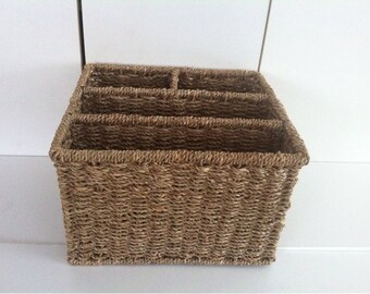 Divided Wicker Basket Desk Organizer , Storage / Kitchen Organizer / Kitchen Farmhouse decor /