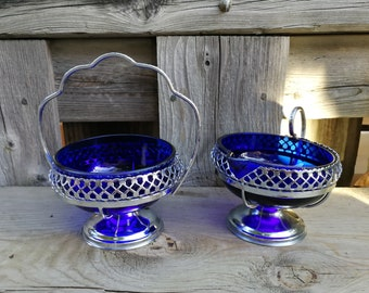 Vintage Chrome Plated Cobalt Blue  Glass Liner Sugar Candy Bowl Dish Pedestal and Creamer / Set  of two / made in England