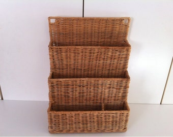 Hanging Mail Organizer - Letter Holder - Wall Hanging Wicker Mail Letter Holder Desk Organizer