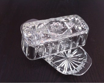Glass Butter Dish with Lid / Covered Quarter Pound Butter  Dish / Butter Dishes / Clear Pressed Depression Glass / Star of David