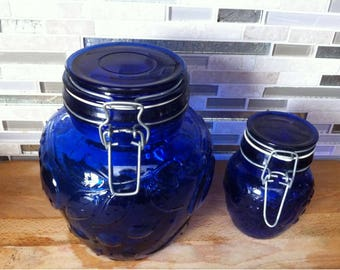 Set of Two Cobalt Blue Glass Storage Canning Jars Bowls Bottles with Glass Lid Retro Farmhouse Kitchen Decor