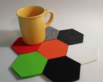HEXAGON Felt Coaster Simple Shape hexagone  Felt  Set of 7