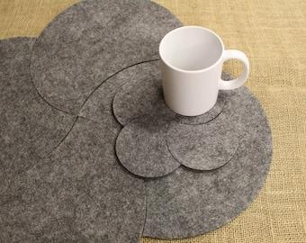 Multi Placemats and Coaster Moon Shape  Felt Table Mats Set 8 pieces