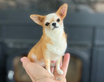 Medium Custom Felted Dog Sculpture/Replica Dog Portrait