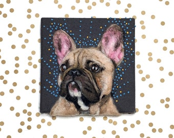 Needle Felted 2D French Bulldog Dog Portrait