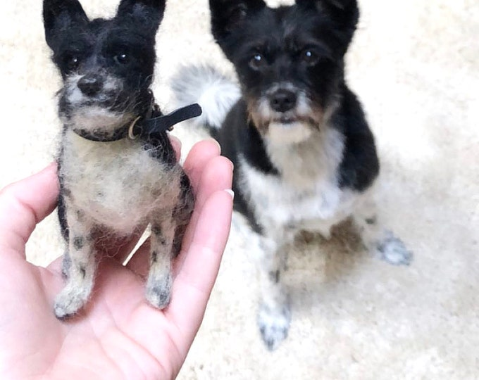 Featured listing image: Small Custom Felted Dog Sculpture/Replica Dog Portrait