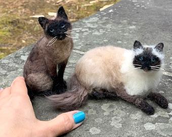 Needle Felted Siamese Cat, Cat Memorial, Cat Sculpture, Cat Replica, Cat Portrait