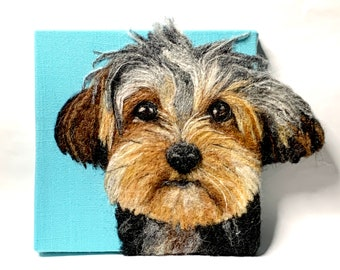 Custom Felted Dog or Cat 2D Portrait, Felt Pet Portrait, 2 dimensional pet portrait
