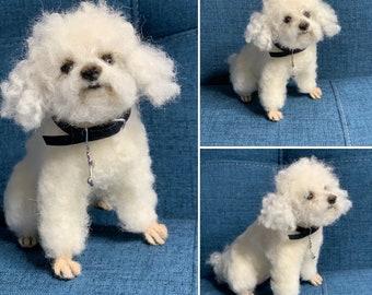 Custom Felted Dog Sculpture/Replica Dog Portrait