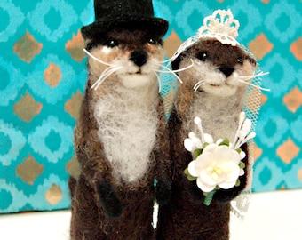 Custom Felted Animal Wedding Cake Toppers