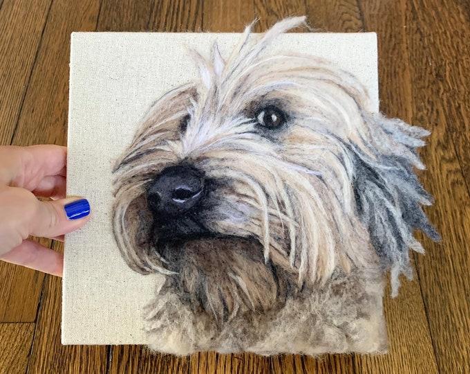 Featured listing image: Custom Felted Dog 2D Portrait, Out of the Box Felt Pet Portrait, 2 dimensional pet portrait