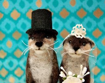 Needle Felted Otter Wedding Cake Topper