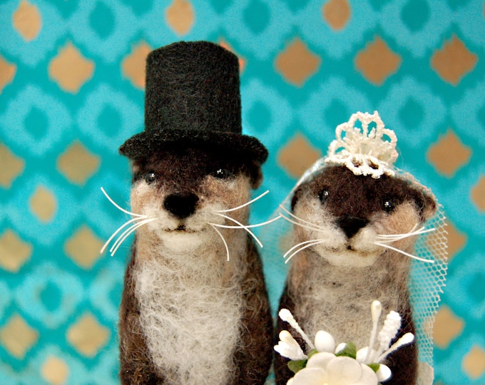 Featured listing image: Needle Felted Otter Wedding Cake Topper