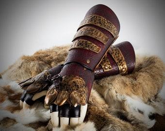 Viking Armband with cover hand, Viking Armband , Celtic Armband, medieval viking bracelet, larp viking bracer whith cover hand in red color