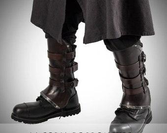 Viking Leather Greaves,  Viking Leg Protection, Medieval Leather Greaves, Celtic Greaves, Medieval Leg protection, Larp Leg Protection