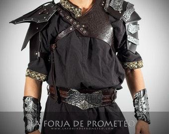Set Medieval Armor, Leather Viking, Medieval Wedding Viking, Viking Armor, Barbarian armour, Pectoral Viking, Celtic armor, Medieval Bracers