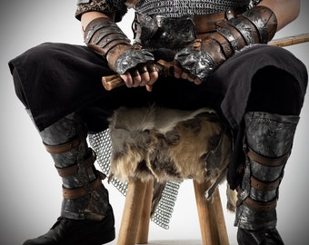 Viking Leather Greaves, legs Viking, Viking leg Protection, Metal Imitation Leather Greaves, Celtic Greaves