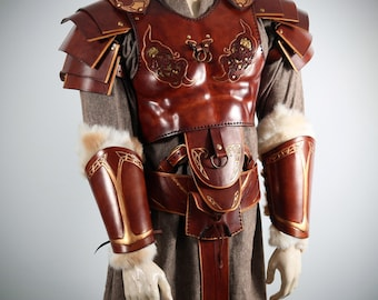 Celtic Dragon Leather Breastplate (Includes shoulder Pauldron and belt), leather armor Viking, Celtic Leather Armor, Leather Armor Larp