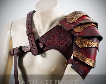 Leather Harness with 2 Shoulder Pads Arlek Red, Red Leather Shoulder Pad, Red leather viking Pauldron, leather pauldron, larp, larp armor